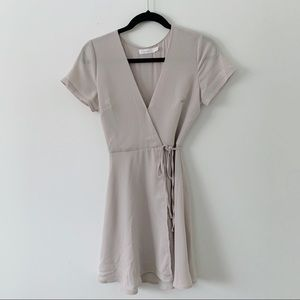LUSH Blush Grey Wrap Dress Size XS